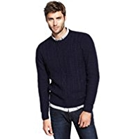 North Coast Cable Knit Flecked Jumper with Wool
