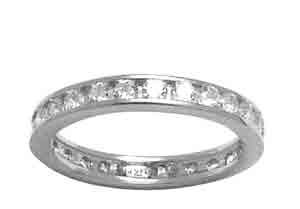 Size 5 Eternity Channel Set Cubic Zirconia Band 14k White Gold Ring