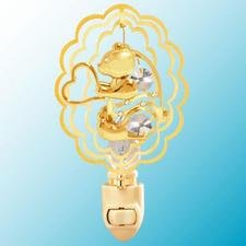 Bear with Heart in Ruffled Ovals Night Light..... Clear Swarovski Austrian Crystals