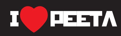 Hunger Games I Heart Peeta Sticker Decal. White and Red