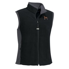 German Short-Haired Pointer Ladies' Micro Fleece Unlined Vest with Bone Zipper Pull and Embroidered