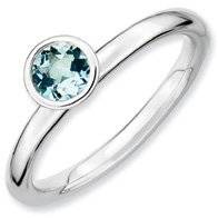 0.47ct Silver Stackable Round Aquamarine Ring Band. Sizes 5-10 Available