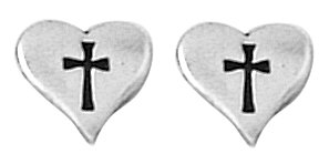 Bob Siemon Sterling Silver Small Heart with Cross Earrings