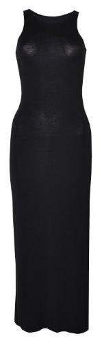 Womens Side Split Plain Jersey Long Racerback Maxi Dress (Way) (8/10 (Uk 12/14), Black)