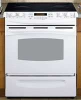 GE Profile PS900DPWW 30″ Slide-In Electric Range with 4 Radiant Elements, 4.4 cu. ft. Self Clean Oven, Electronic Oven Controls, Ceramic Glass Cooktop and Storage Drawer: White