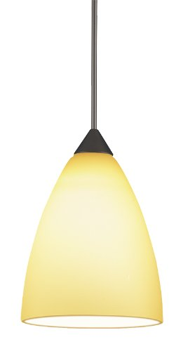 Juno Lighting P61Mpla2-Brz-Amb Medium Dome 5W 12V 2700K Led Monopoint Pendant With Amber Etched Glass, Vintage Bronze Finish