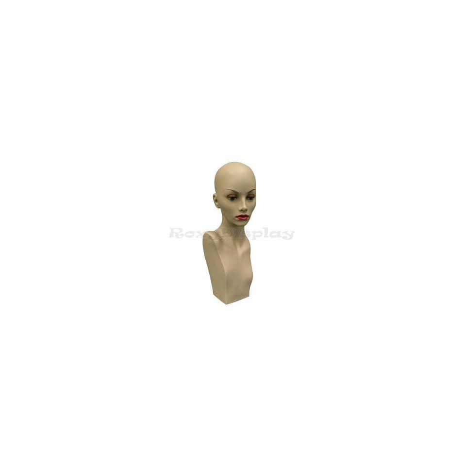 (MD BabaraF1) Realistic Female Mannequin Head 21 tall, Flesh Tone Pretty make up