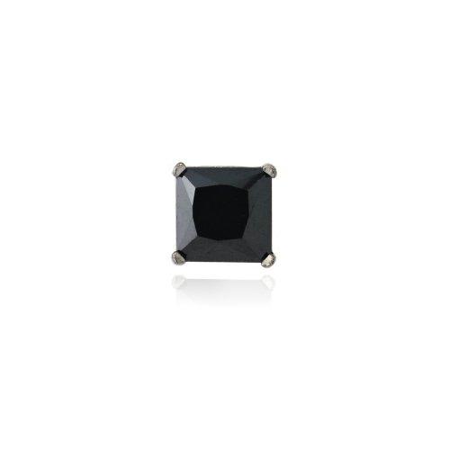 Black Rhodium Overlay Sterling Silver Black CZ 5mm Square Men's Stud Earring