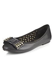 Leather Studded Bow Ballet Pumps