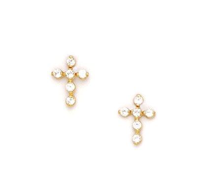 14K Yellow small cross Earring