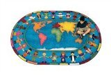 "Joy Carpets Kid Essentials Early Childhood Oval Hands Around The World Rug, Multicolored, 7'8"" x 10'9"""