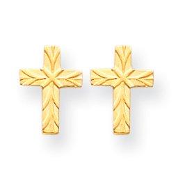 14k Patterned Cross Earrings