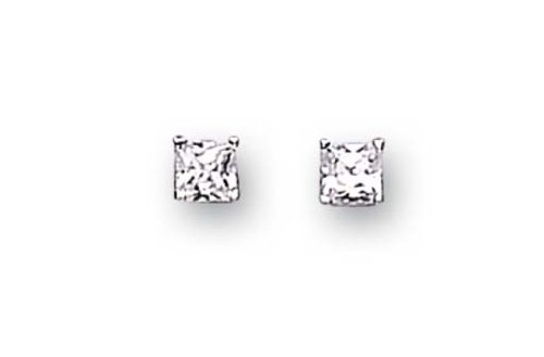 Sterling Silver Cubic Zirconia Stud Earrings 4Mm Square