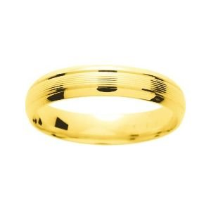 So Chic Jewels - 9k Yellow Gold 4 mm Fantasy Pattern Wedding Band Ring