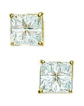 14k Yellow Gold 5x5mm 4 Segment Square CZ Basket Set Earrings - JewelryWeb