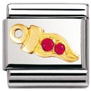 Composable Classic GOOD LUCK in stell , 18k gold and Cubic zirconia (RED chili)