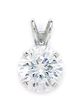 14k White Gold 8mm CZ Round Pendant - Measures 13x8mm - 13 Inch - JewelryWeb