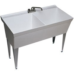 Swanstone Laundry Double Bowl Utility Sink MF-2FWH White