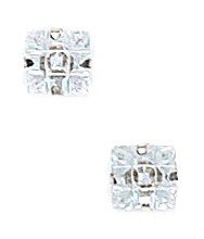 14k White Gold 5x5mm 9 Segment Square CZ Light Prong Set Earrings - JewelryWeb