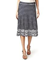 Per Una Pure Cotton Striped & Floral Embroidered Skirt