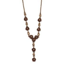 Copper-tone Lt. Colorado and Brown Crystal 15inch With Ext Y Necklace - JewelryWeb