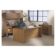"HON Company Products - Double Pedestal Desk, 72""x36""x29-1/2"", Medium Oak - Sold as 1 EA - Office furniture features stain-resistant and spill-resistant laminate with hardwood accents. Tops and end panels are made with abrasion-resistant and stain-resistant thermal-fused laminate over 1-1/8"" solid core high-density particleboard that resists warping. Recessed design on full-length modesty panels facilitates conferencing. Drawers have five-sided construction for easy drawer alignment. Box drawers"