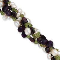 Garnet Amethyst Peridot Chips Pearl Bracelet - 8.5 Inch - Toggle - JewelryWeb