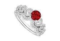 Ruby and Diamond Engagement Ring with Wedding Band Set 14K White Gold - 0.75 CT TGW MADE IN USA