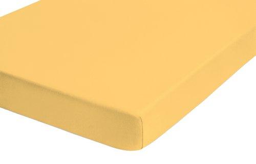 Castell 77113/530/040 Lenzuolo in jersey con angoli elasticizzati 90 x 190 cm - 100 x 200 cm, colore: Giallo