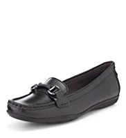 Footglove™ Leather Buckle Trim Moccasins