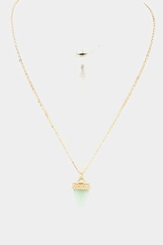 Karmas Canvas Gem Stone With Cap Pendant Necklace (Chalcedony) front-1041794