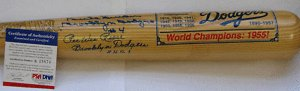 DUKE SNIDER & PEE WEE REESE AUTOGRAPH BAT PSA DNA by Bud