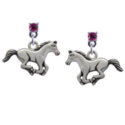 Running Horse Hot Pink Swarovski Post Charm Earrings by Delight