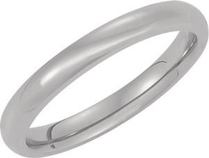 3 mm Comfort Fit Titanium Dome Band, Size 6.5