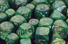 Polyhedral 7-Die Lustrous Dice Set - Green & Gold With Silver