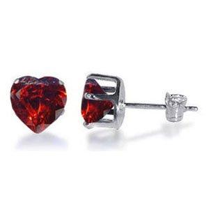 TDEZ2210-GG Nickel Free Sterling Silver 7mm Heart Garnet Cubic Zirconia Post Back Stud Earrings