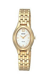 Seiko Women's SUP008 Gold Plated Solar Silver Oval Dial Watch