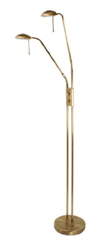 Juma 2 Light Adjustable Floor Standard Antique Brass Finish