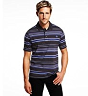 Blue Harbour Pure Cotton Multi-Striped Polo Shirt