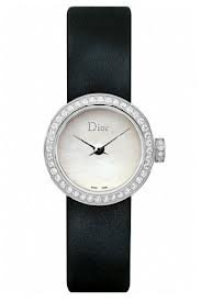 Christian Dior La D De Dior Mother of Pearl Dial Black Satin Diamond Ladies Watch CD040110A001