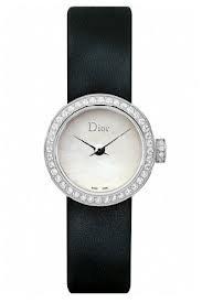 Christian Dior La D De Dior Mother of Pearl Dial Black Satin Diamond Ladies Watch CD040110A001