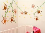 "CuteyBaby Go Bananas Modern Monkeys Wall Decals, 18"" x 48"" Sheet"