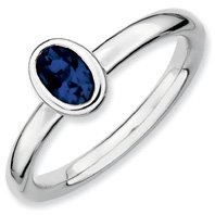 0.63ct Captivating Silver Stackable Oval Sapphire Ring. Sizes 5-10