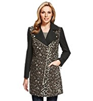 M&S Collection Animal Print Biker Coat with Wool