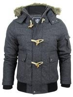 MENS WOOL BLEND MILITARY STYLE BOMBER JACKET WITH HOOD - DARK GREY - LARGE