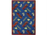 "Joy Carpets Playful Patterns Children's Hook and Ladder Area Rug, Blue, 7'8"" x 10'9"""