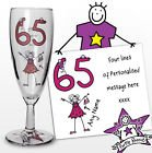 Purple Ronnie Personalised Glass Champagne Flute Great Present Idea 50th 60th 70th Birthday or Anniversary Gift