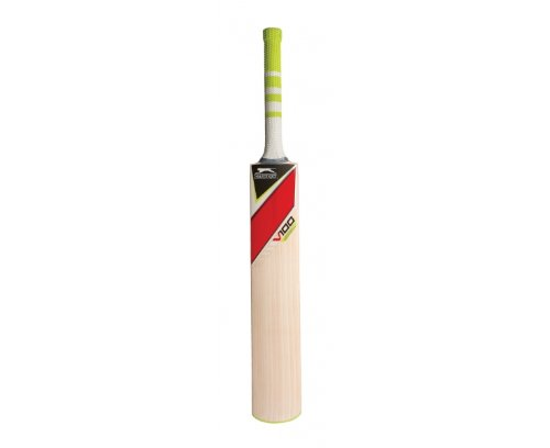 Slazenger Kids V100 Panther Cricket Bat - Red/White/Lime, Size 4