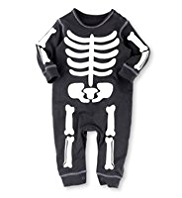 Pure Cotton Halloween Glow in the Dark Skeleton Onesie