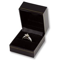 Classic Design Black Leatherette Jewelry Ring Gift Box